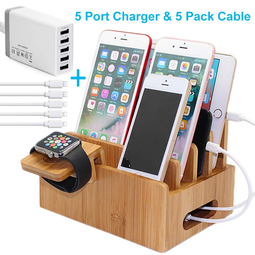 Bamboo Charging Station for Multiple Devices with 5 Port USB Charger, 5 Charger Cables and Watch Stand. Pezin & Hulin Desk Wood Docking Stations Electronic Organizer for Cell Phone, Tablet, iWatch