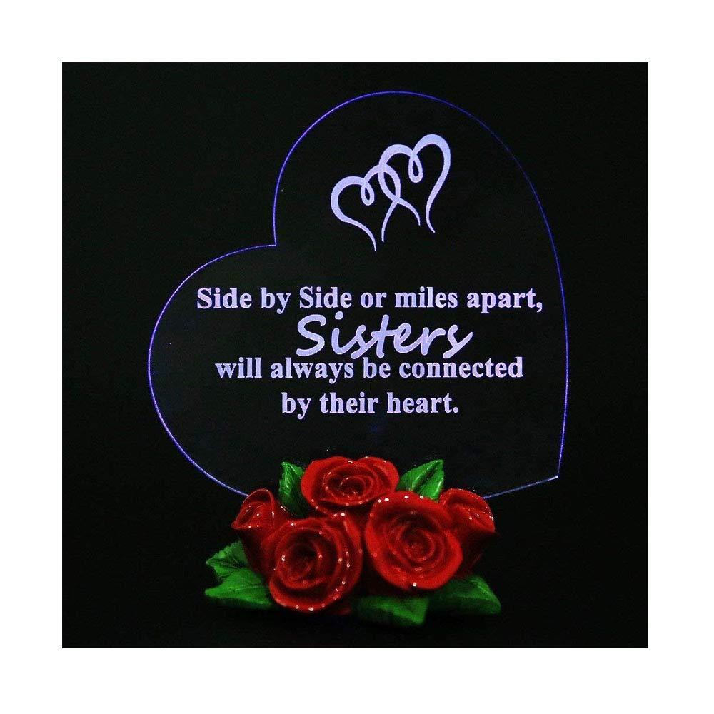 Sister Birthday Gift Heart Love Rose LED Light Souvenir Decor