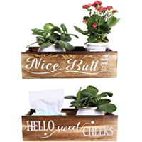 Garma Farmhouse 2 Sides Design Wooden Bathroom Decor Box Funny Toilet Paper Holder, Rustic Storage Organizer Ideal for…