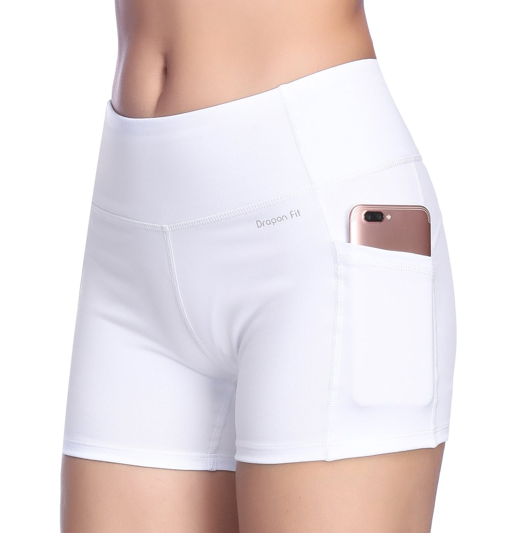 Dragon Fit Tummy Control Yoga Shorts High Waist Out Pockets Power Flex Workout Running Yoga Shorts 4 Way Stretch(Large, pockets-shorts15-white) by Dragon Fit (Image #6)