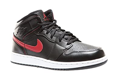 official photos 95d3d 45326 Amazon.com   Nike Youth Air Jordan 1 Mid Black Red Leather Trainers 40 EU    Basketball
