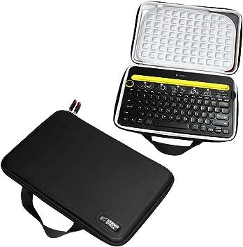 Hermitshell Caja protectora de viajes EVA Llevar tamaños cubierta de la bolsa del bolso compacto para Logitech K480 Bluetooth Multi-Device Teclados ...