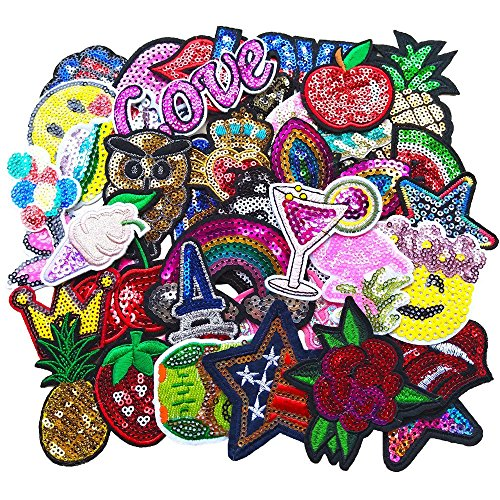 (Qingxi Charm 32pcs Assorted Styles Sequins Sewing on/Iron on Embroidered Patches Clothes Dress Hat Pants Shoes Curtain Sewing Decorating DIY Craft Embarrassment Applique Patches (Sequins 32pcs))