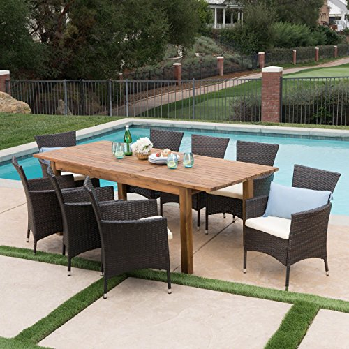 Table Dining Teak Set (Great Deal Furniture Lorelei Outdoor 9 Piece Multibrown Wicker Dining Set with Teak Finished Acacia Wood Expandable Dining Table and Beige Water Resistant Cushions)