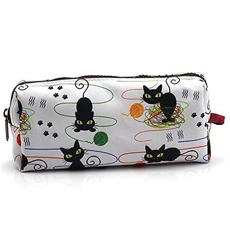 Cat lápiz caso gatos y de hilo para tejer Idea estuche maquillaje gato bolsa de regalo