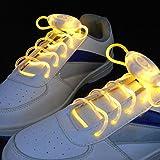 Paire de Lacets Lumineux Clignotants et Equipés de LED de Couleur Jaune