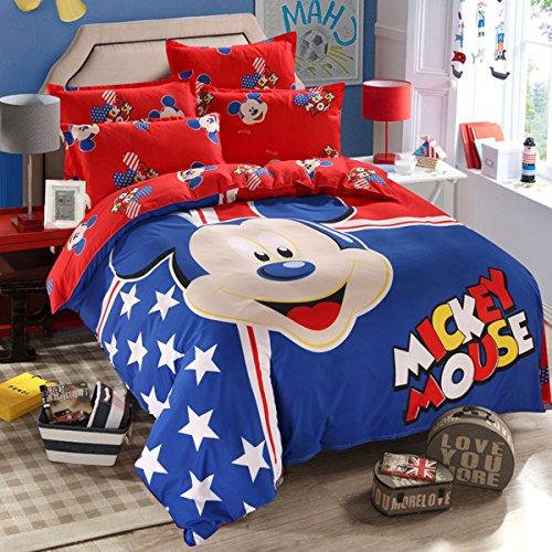 Hmlover Soft Polyester Cartoon 3D Print Bedding Set 4pcs,Durable,Queen Size , 1duvet cover,2pillowcases,1bed sheet Mickey Blue - Mall The Queens