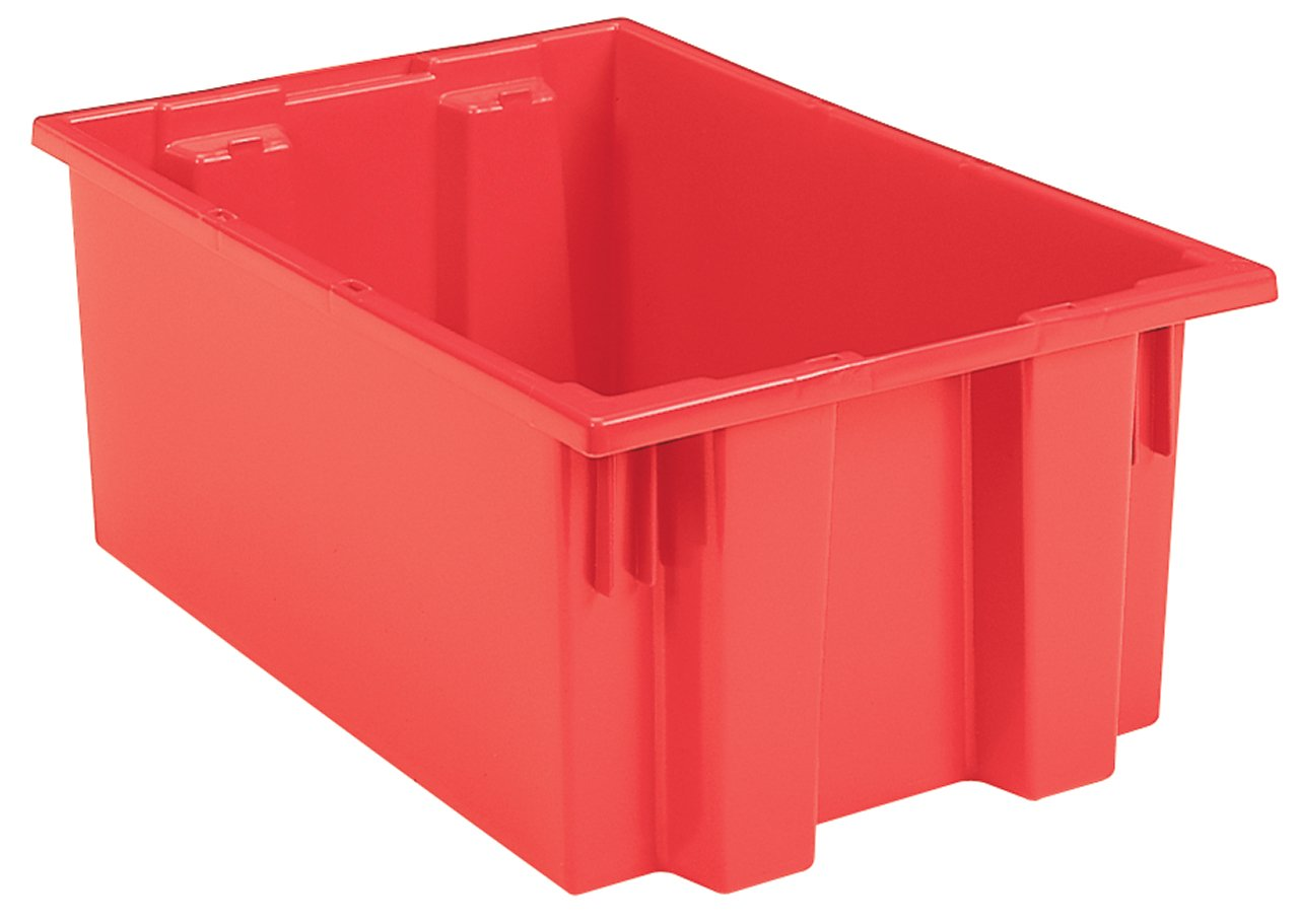 Akro-Mils 35190 Nest and Stack Plastic Storage and Distribution Tote, 19.5-Inch L by 15.5-Inch W by 10-Inch H, Red, Case of 6 by Akro-Mils