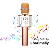 Wireless Karaoke Microphone - NASUM 3-in-1 Portable Built in Bluetooth 4.1 Speaker Machine for Android/iPhone/iPad/Sony/,PC or All Smartphone,for Singging, Karaoke, Recording(Rose Gold)