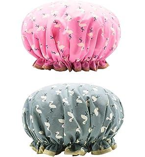ZARRS Shower Caps Reusable,2 Pack Women Bath Cap Double Layer Shower Hat Waterproof Elastic Bathing Hats for Woman Ladies Shower Spa Salon Black+Red Polka Dot