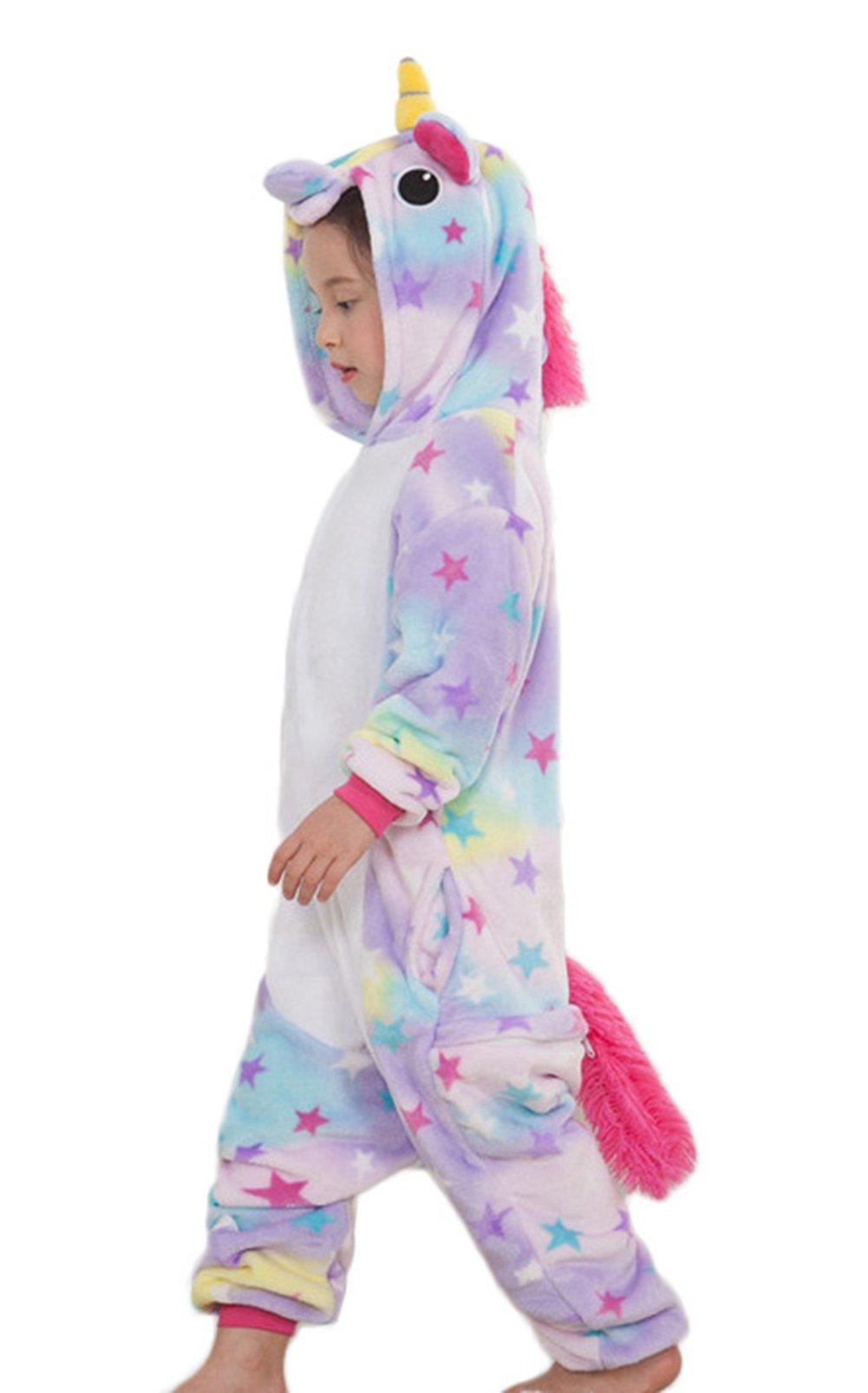EcoOnesie Girls Animal Onesie Halloween Cartoon Costume One Piece Unicorn Pajamas Anime Cosplay Lounge Wear Outfits Kids Size 10