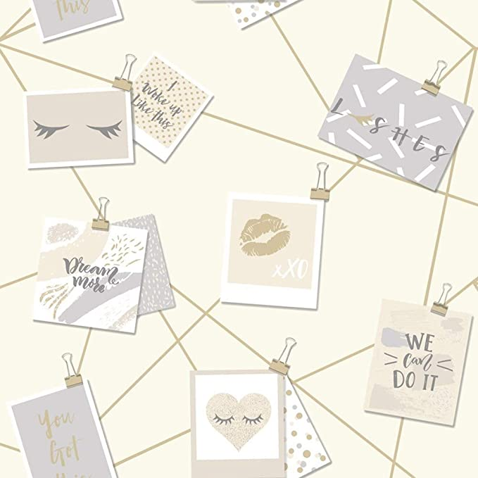 Holden Decor Dream Lashes Beige Gold Wallpaper 12772 Girls Typography Notes