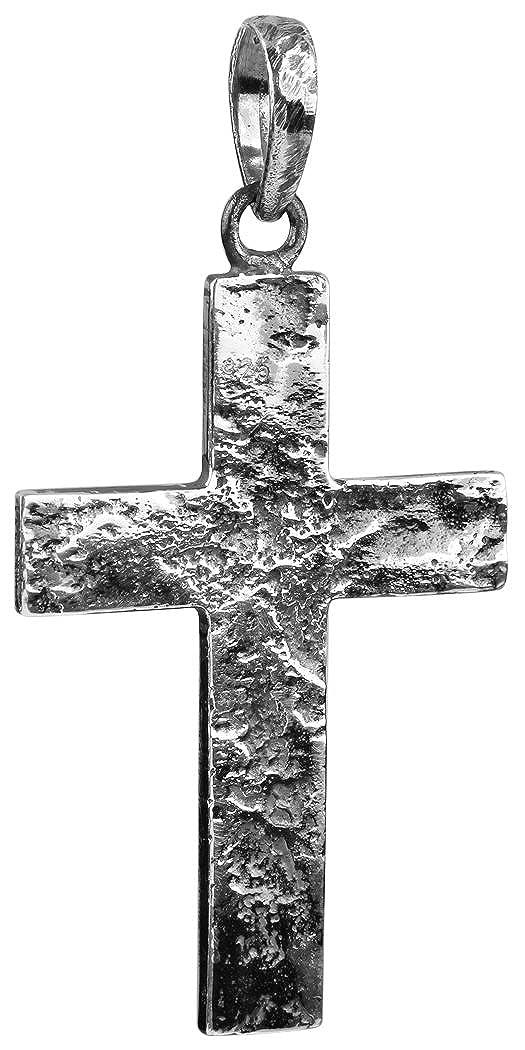 Silber schwarz oxidierter Kreuz Anhänger für Ketten, von Kuzzoi aus massivem 925er Sterling Silber für Halsketten, 54 mm hoch, 7g schwer, sehr hochwertig und exklusiv 361385-000