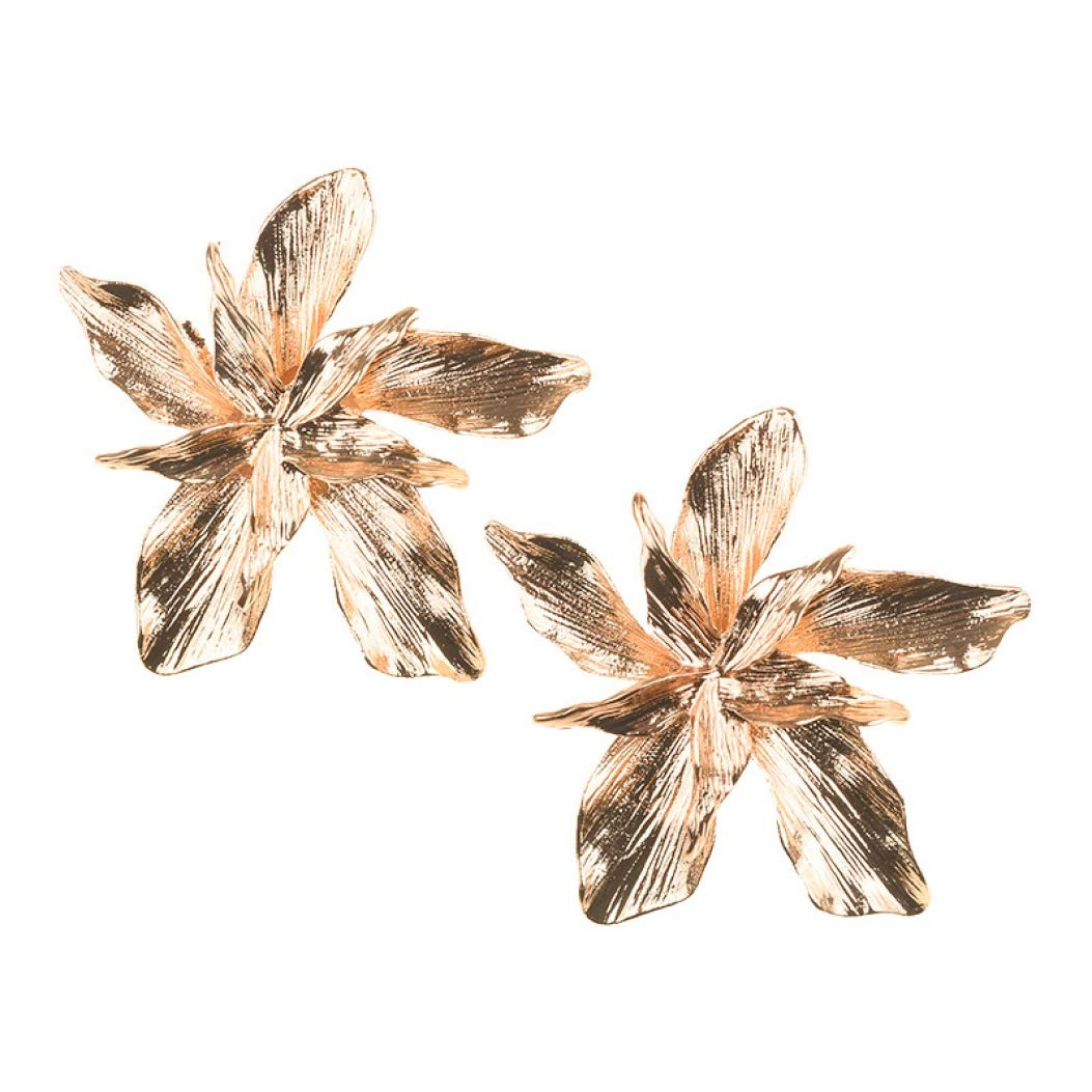 Golden Flower Statement Earrings for Women 2 Colors Choice Female Party Gifts Jewelry metal earring
