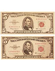 1953 and 1963 5 Red Seal United States Notes Set of 2 Very Nice