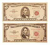 #10: 1953 and 1963 5 Red Seal United States Notes Set of 2 Very Nice