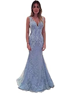 Illusion Back V Neck Lace Mermaid Evening Dresses Long Womens Prom Gown E147
