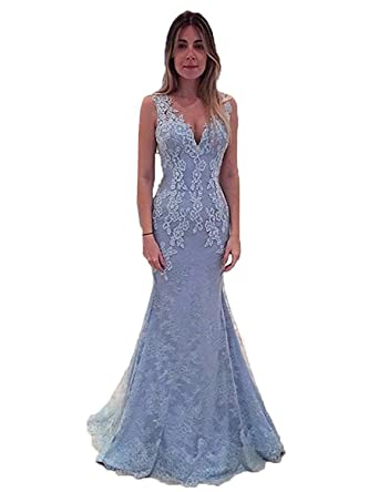 CIRCLEWLD Illusion Back V Neck Lace Mermaid Evening Dresses Womens Beaded Prom Gown Long Blue Size