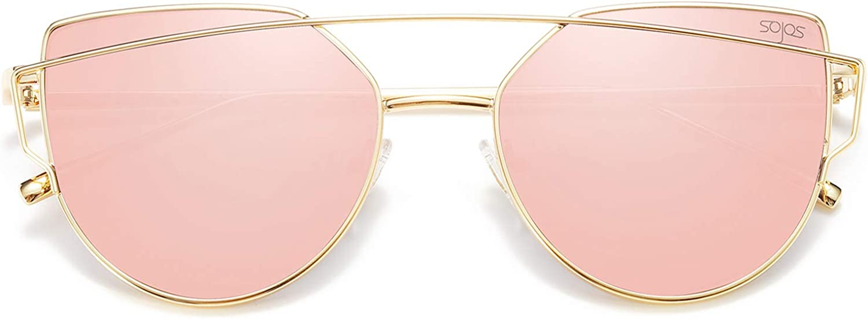 SOJOS Katzenauge Metall Rand Rahmen Damen Frau Mode Sonnenbrille Verspiegelt Linse Women Sunglasses SJ1001 mit Gold Rahmen/Rosa Linse: Amazon.de: Bekleidung - Marken Sonnenbrillen Damen