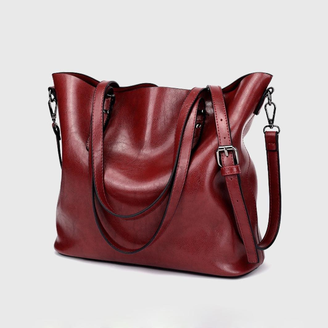 6c7078f3c16 Amazon.com  Women Retro Crossbody Bag Rakkiss Leather Shoulder Bag Handbag  Bucket Large Capacity Bag Tote Backpack Bags (One Size, Black)  Rakkiss
