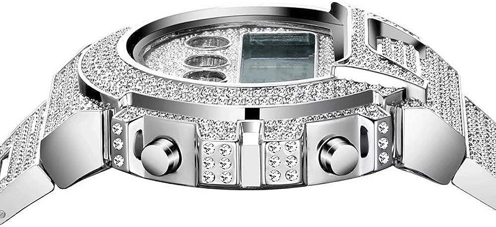 Hommes Iced Out Diamant Montres Électroniques Multifonctionnel Hip Hop Bling Bling Lumineux Étanche Montre-Bracelet Bande pour Hommes Rappeur Argent