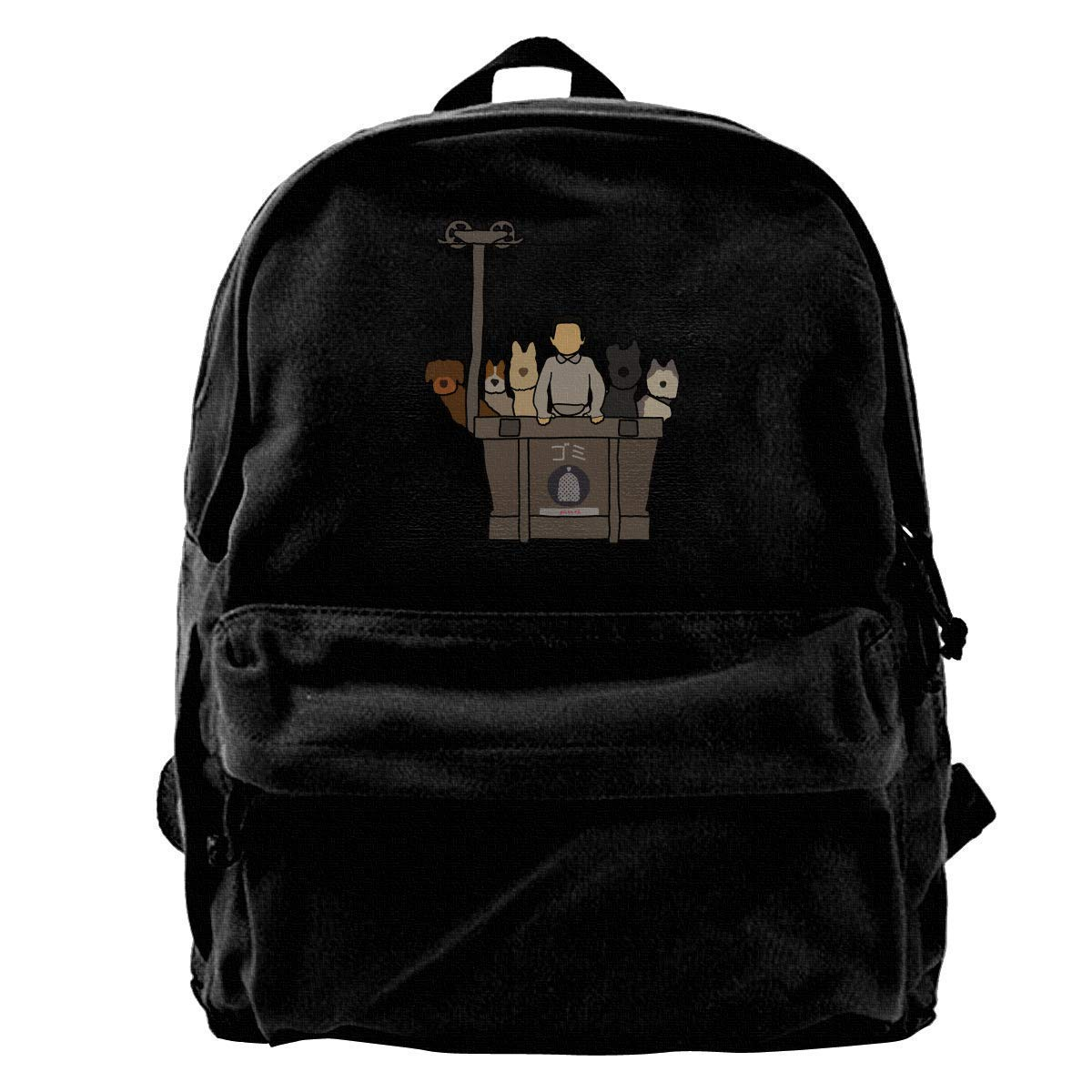 Ie of Dogs Canvas Shoulder Backpack Backpack for Men & Women Teens College Travel ypack Black