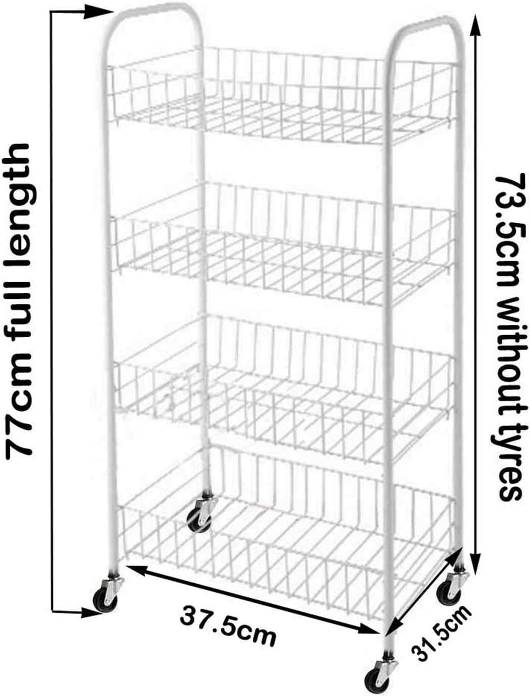 New Rack Fruit Vegetable Storage 4 Tier Kitchen Basket Stackable Stacking Trolley Stand Shelf (White, 4 Tier)