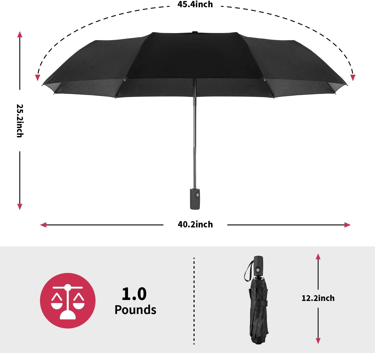 Fox Hedgehog And Fruit In The Forest Compact Travel Umbrella Windproof Reinforced Canopy 8 Ribs Umbrella Auto Open And Close Button Personalized
