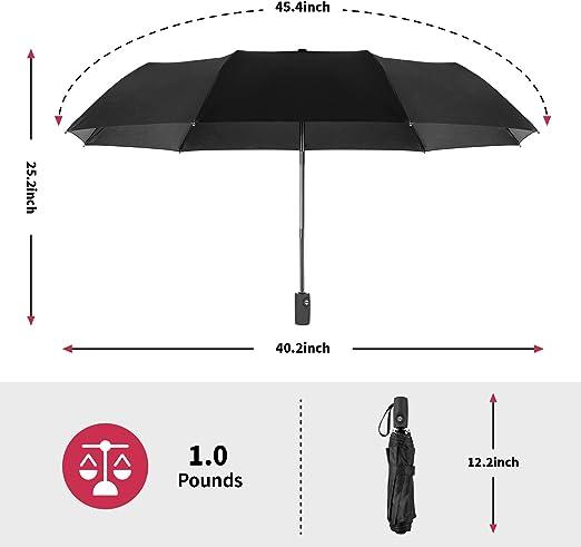 Auto Open//Close Ergonomic Non-Slip Handle Compact Umbrella,Checkered Pink Black Squares Automatic Folding Travel Umbrella