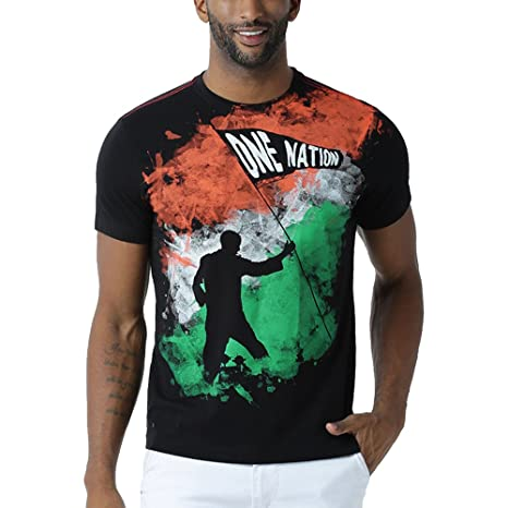 Huetrap Men's India One Nation Black T Shirt Men's T-Shirts at amazon