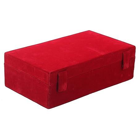 Kuber Industries Wooden 1 Piece Two Rod Velvet Bangle Storage Box  Maroon    CTKTC22732 Storage Boxes