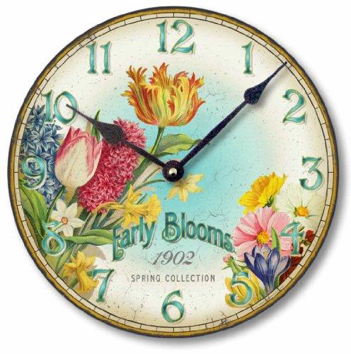 Item C8357 Vintage Style Floral Clock (10.5 Inch Diameter)