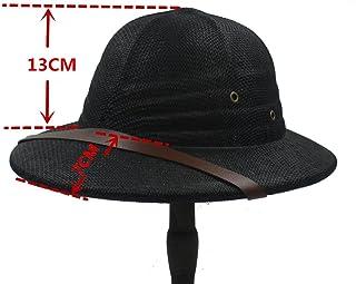 ZXCVBM Casco De Paja Pith Sombreros para El Sol para Hombres Guerra De Vietnam Sombrero del Ejército Papá Boater Sombreros Bucket Safari Selva Mineros Cap 56-59 Cm