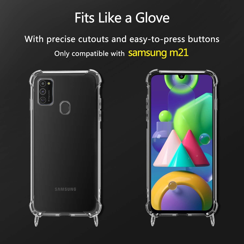 Moda y Practico Anti-rasgu/ños Anti-Choque - Negro XTCASE Funda con Cuerda para Samsung Galaxy M21 Silicona Transparente Ultrafina Suave TPU Carcasa de movil con Colgante