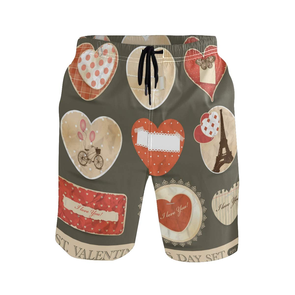 Mens Beach Swim Trunks Happy Heart Dots Bicycle Insect Love Boxer Swimsuit Underwear Board Shorts with Pocket