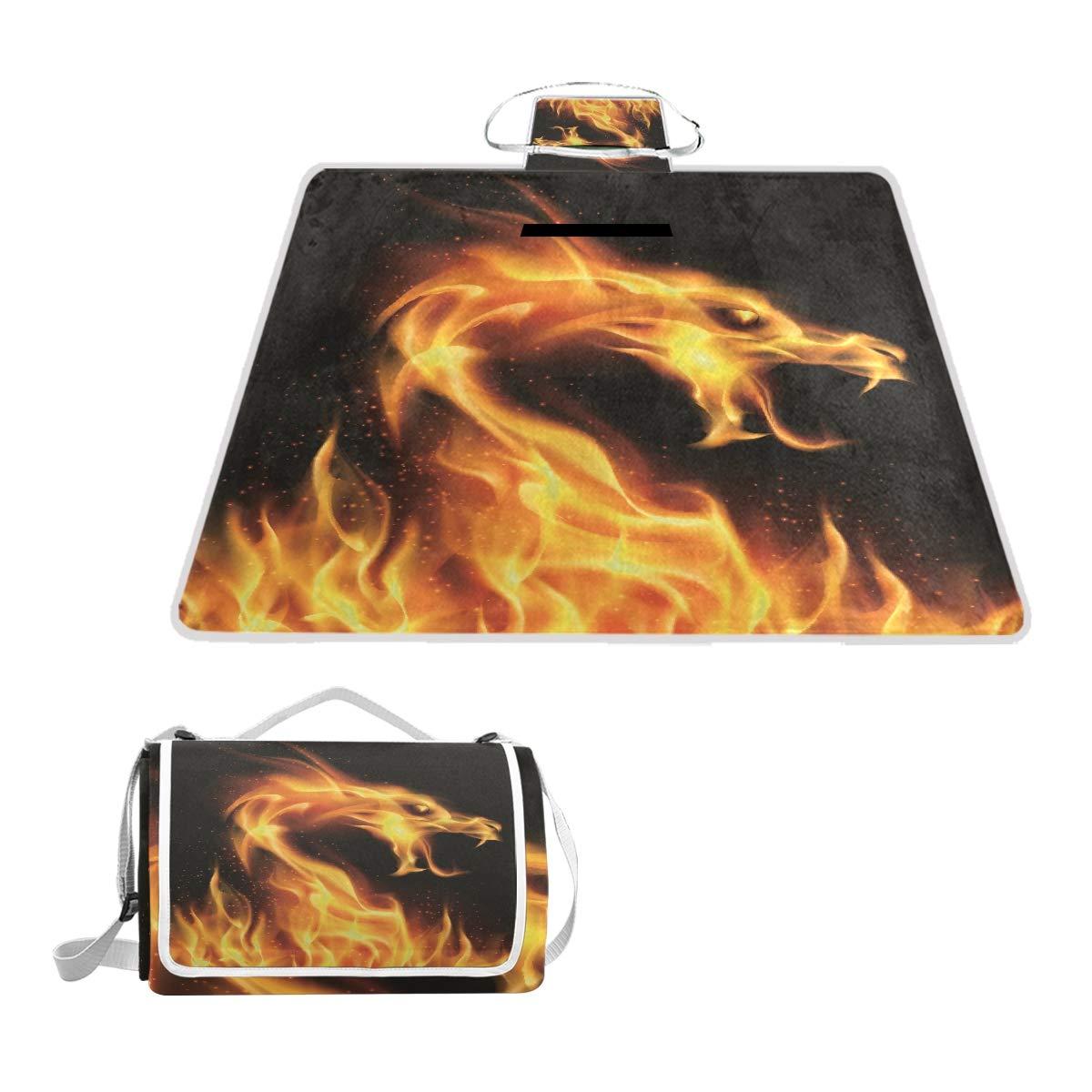 Anyangquji Abstract Fiery Dragon Picnic Blanket 57''x59''