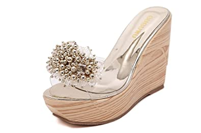 be62775e043a High Heel Wedge Sandal with Crystal Embellishment Style Shoes(silver34 3 B(M