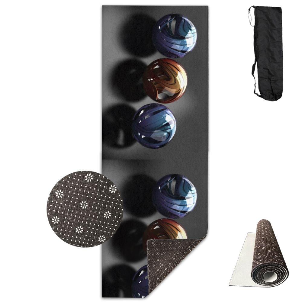 滑らかなメタリックガラスボールヨガマット、クリスタルファブリック下、不織布点プラスチック。   B07C824Z3K
