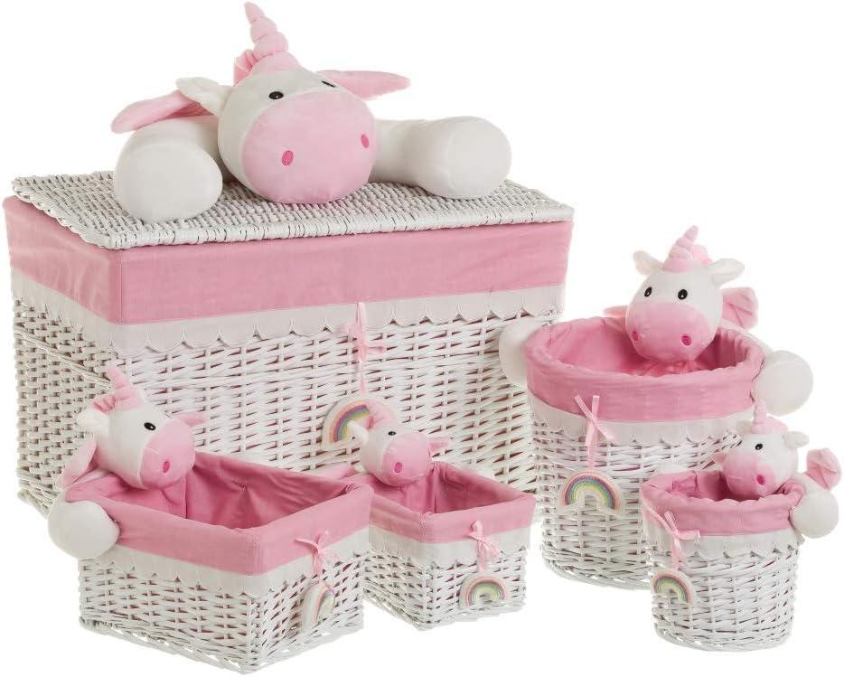 LOLAhome Ba/úl con 4 cestas de Mimbre Rosa Infantil para Dormitorio Child