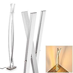 Lampadaire LED Nasko en métal/nickel mat - luminaire pour bureau - salle de séjour - chambre à coucher - cette lampe dispose d'un gradateur en continu