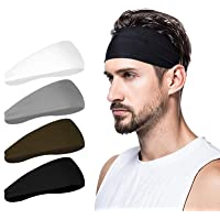 poshei Mens Headband (4 Pack), Mens Sweatband & Sports Headband for Running, Crossfit, Cycling, Yoga, Basketball…