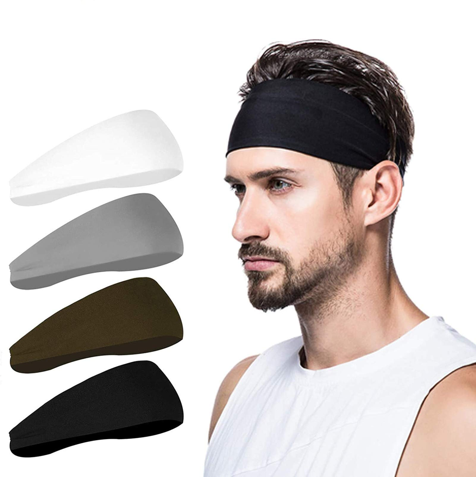 poshei Mens Headband (4 Pack), Mens Sweatband & Sports Headband for Running, Hiking,Yoga, Basketball,Cycling Helmet Friendly - Stretchy Moisture Wicking Unisex Hairband