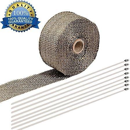 10M Rodillo de envoltura de calor de escape de titanio, cinta aislante de escape de Shineus cinta de escudo de calor de fibra de vidrio para cañería, tubería de motocicleta de coche: