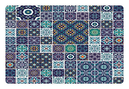 Ambesonne Ethnic Pet Mat for Food and Water, Traditional Mosaic Azulejo Portuguese Cultural Ceramic Tiles Folk Design, Rectangle Non-Slip Rubber Mat for Dogs and Cats, Teal Indigo Navy Blue - Indigo Traditional Rug