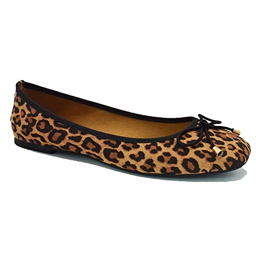 8fb2beffacc8 KANGMIER Shoes Women Suede Leopard Ballet Flat Shoes Square Toe Bowtie Slip  on (10.5 US
