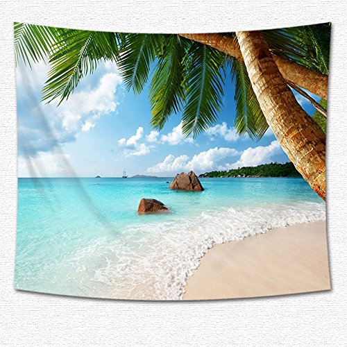KABAKE Coconut Tree Hanging from Above, Natural Landscape Scene Beach Palm Tapestry Bedroom Living Room Dorm Wall Hanging Tapestry Wallcloth Bedspread Throw Blanket (Pattern #10) ()