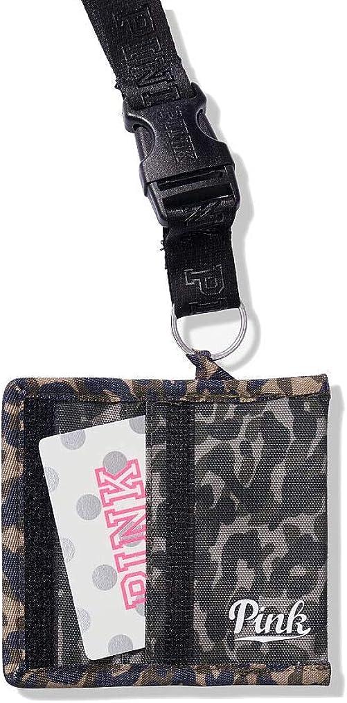 Victoria's Secret Pink Lanyard ID//Case//Badge Holder//Wallet Black School Campus