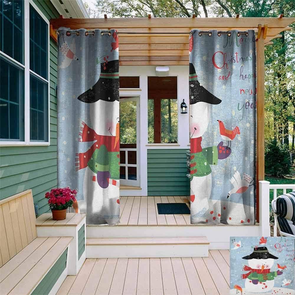 XXANS - Cortina de pérgola con diseño de muñeco de Nieve Mirando el Copo de Nieve, Paisaje de Invierno de los bosques de Evergreen, Cortinas para Sala de Estar, Multicolor: Amazon.es: Jardín