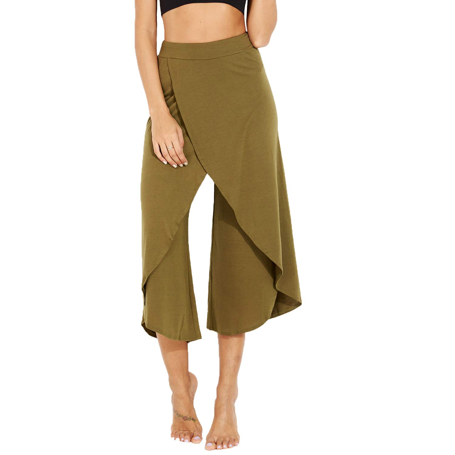 Army Green FITTOO Women's Flowy Split Wide Leg Cropped Pants Comfortable Lightweight Flowing Lounging Palazzos Yoga Sports