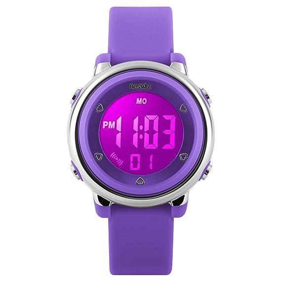 Reloj Digital para niñas para Deportes al Aire Libre, niños Coloridos LED retroiluminación, Reloj de Pulsera con Alarma, Resistente al Agua 12/24h, ...